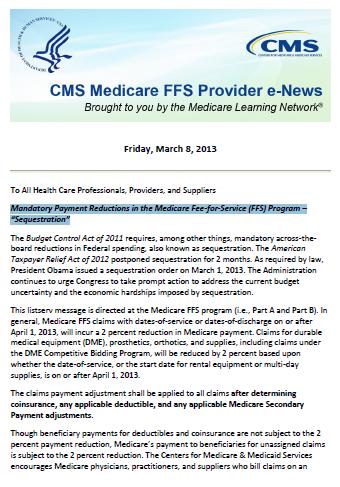 CMS Medicare FFS Provider eNews