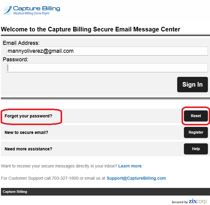 3 Welcome to Capture Billing's Secure Email Message Center