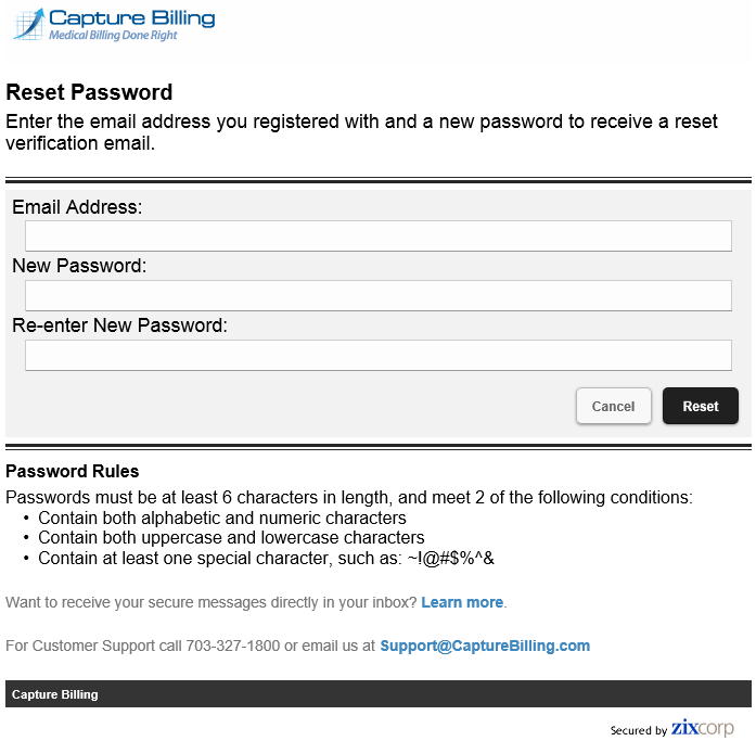 4 Reset password for Capture Billing secure email