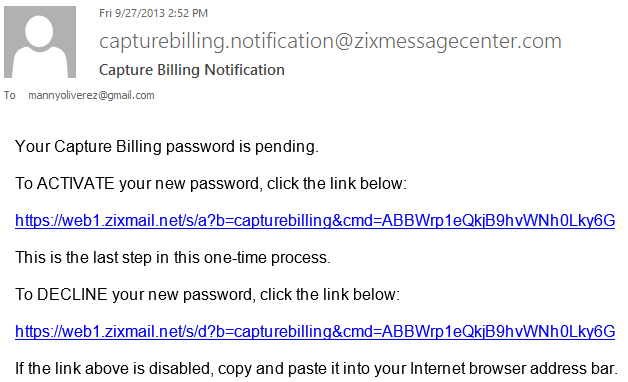 5b Activate your new password - Capture Billing