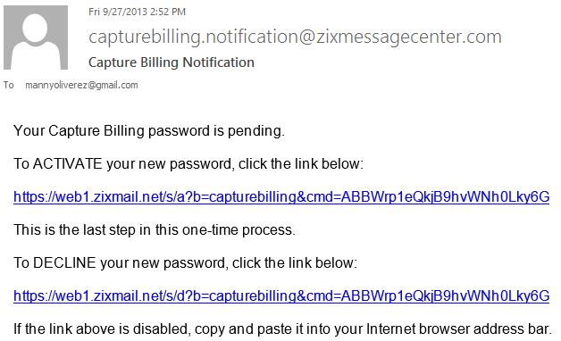 5b Activate your new password - Capture Billing