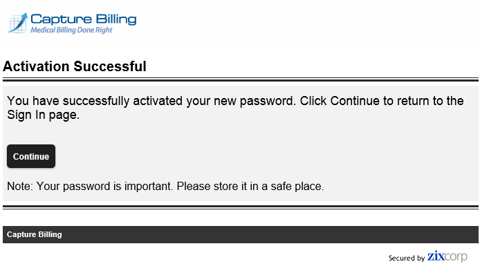 6 Successful activation of your new password - Capture Billing
