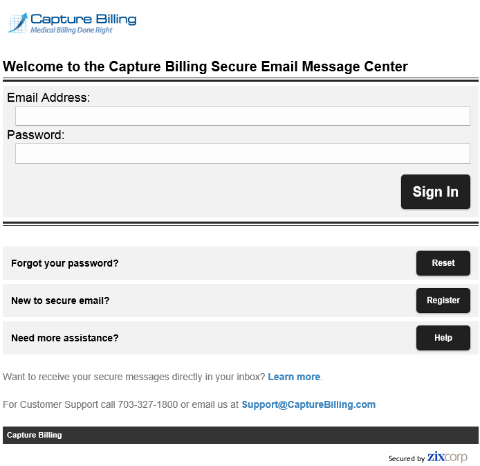 7 Capture Billing Secure Email Login Screen
