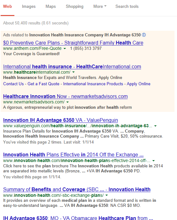 Google listing for health insurance