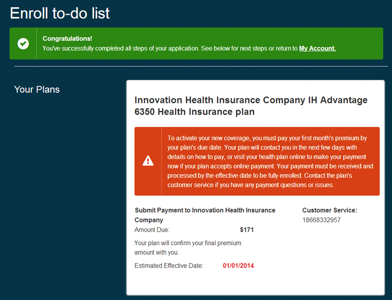 Healthcare.gov Enroll to do list
