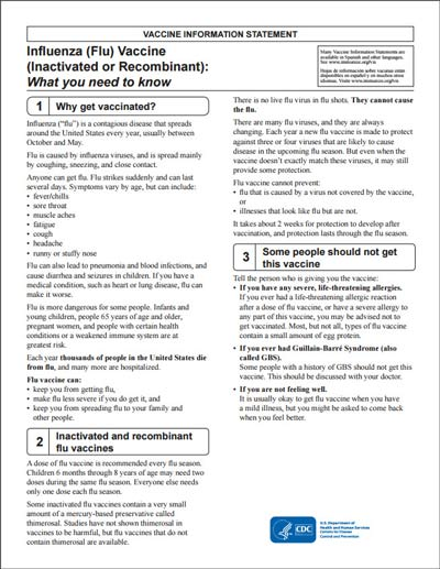 Flu Facts: Vaccine Information Statements (Vis) For Flu Vaccine